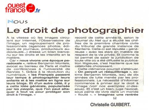 le droit de photographier