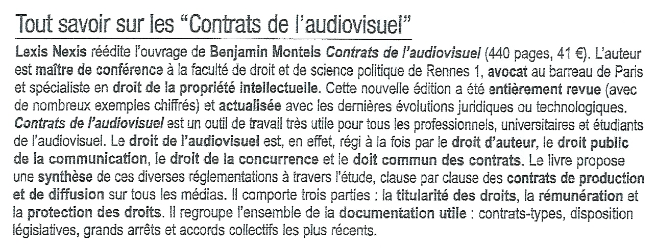 contrats audiovisuel