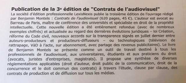 3eme édition des contrats de l'audiovisuel